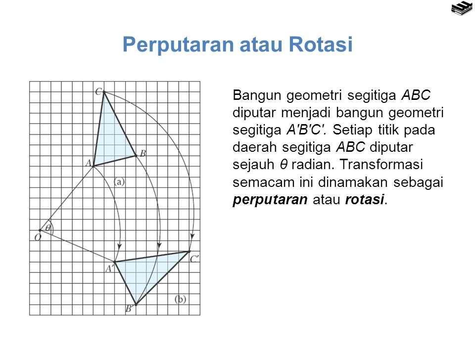 Perputaran atau Rotasi Bangun geometri segitiga ABC diputar menjadi bangun geometri segitiga A′B′C′. Setiap titik pada daerah segitiga ABC diputar sej