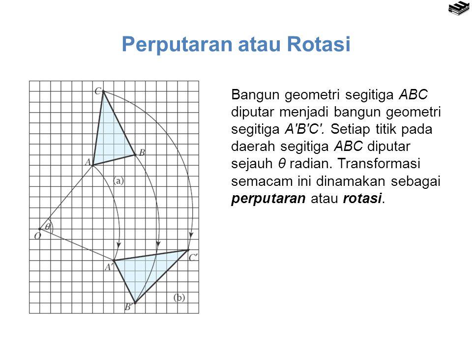 Pencerminan atau Refleksi Bangun geometri segitiga ABC dicerminkan menjadi bangun geometri segitiga A′B′C′.
