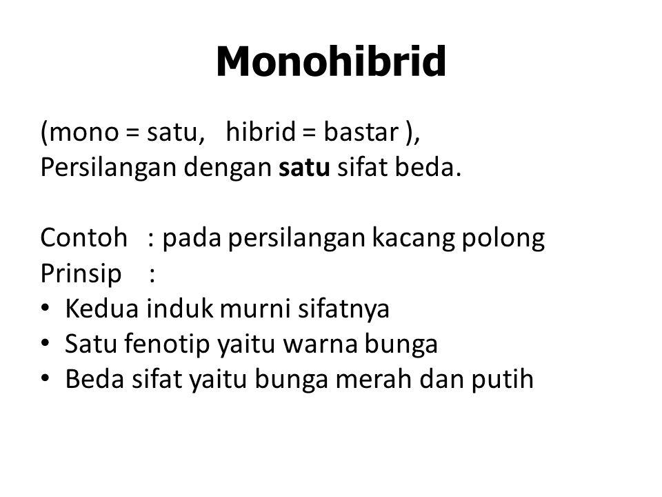 Monohibrid (mono = satu, hibrid = bastar ), Persilangan dengan satu sifat beda.