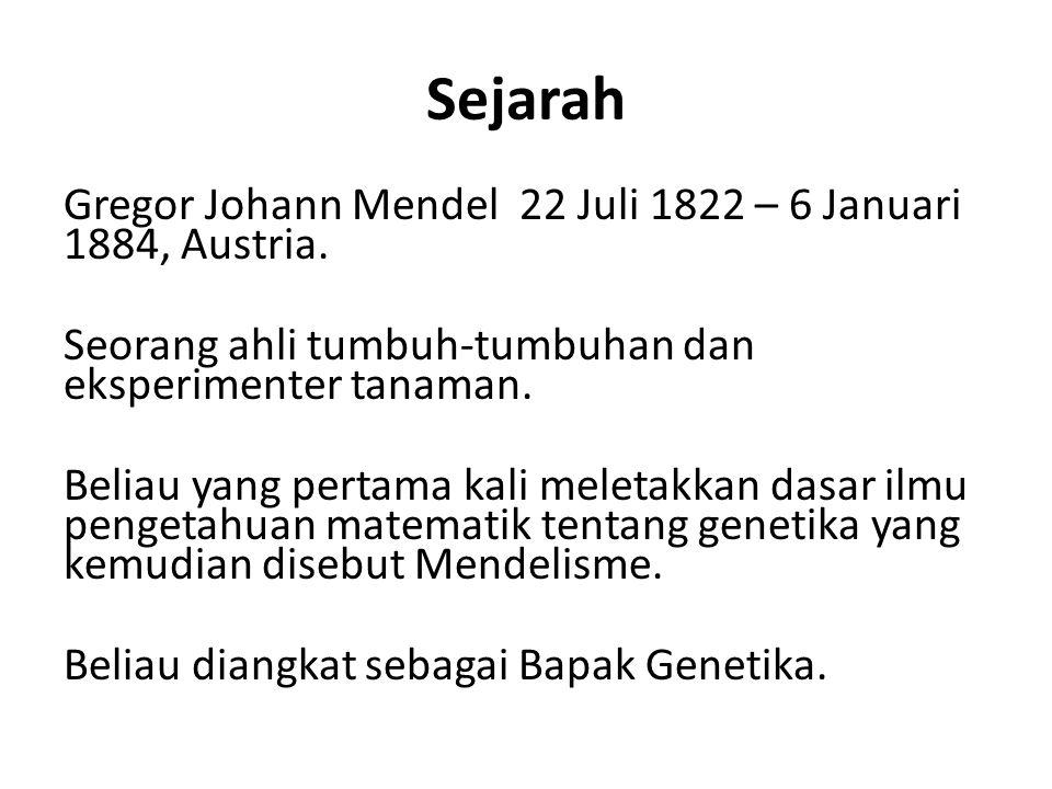 Sejarah Gregor Johann Mendel 22 Juli 1822 – 6 Januari 1884, Austria.