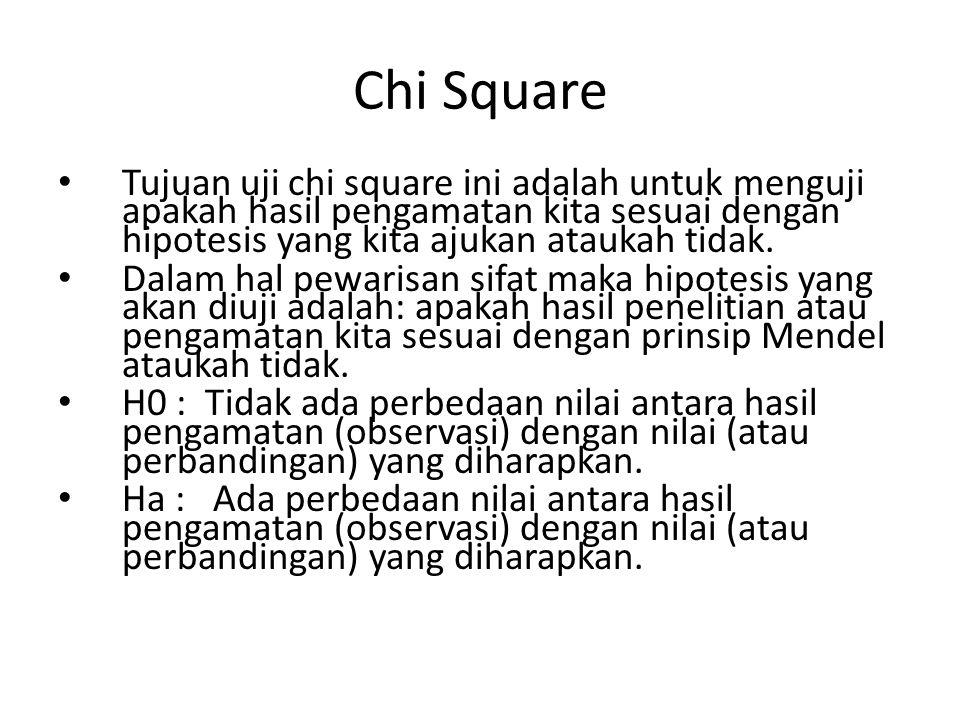 Chi Square Tujuan uji chi square ini adalah untuk menguji apakah hasil pengamatan kita sesuai dengan hipotesis yang kita ajukan ataukah tidak.