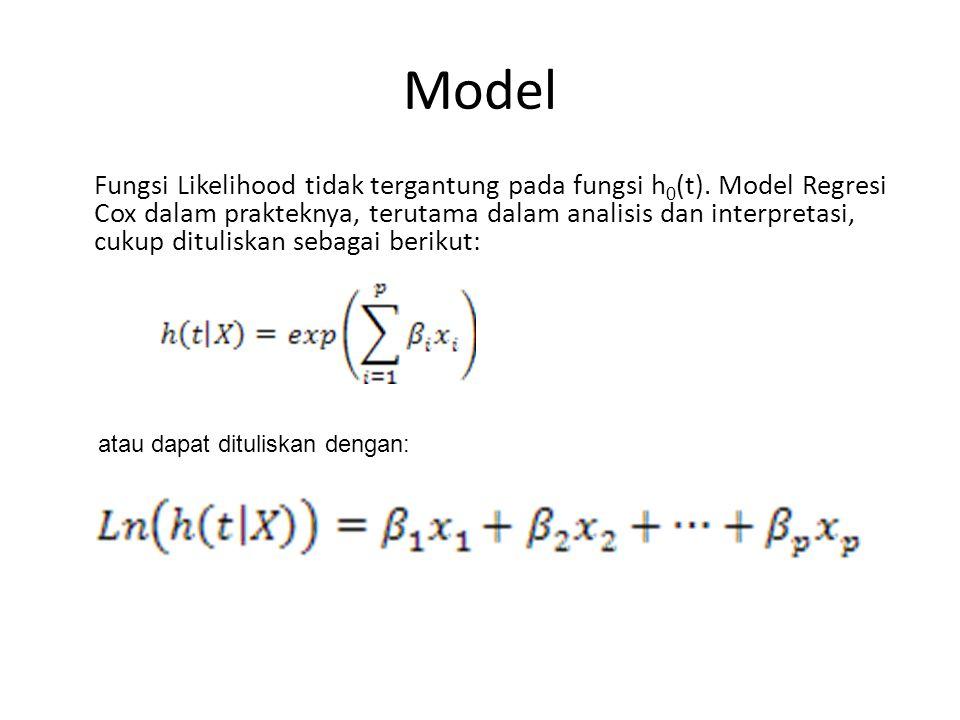 Model Fungsi Likelihood tidak tergantung pada fungsi h 0 (t).