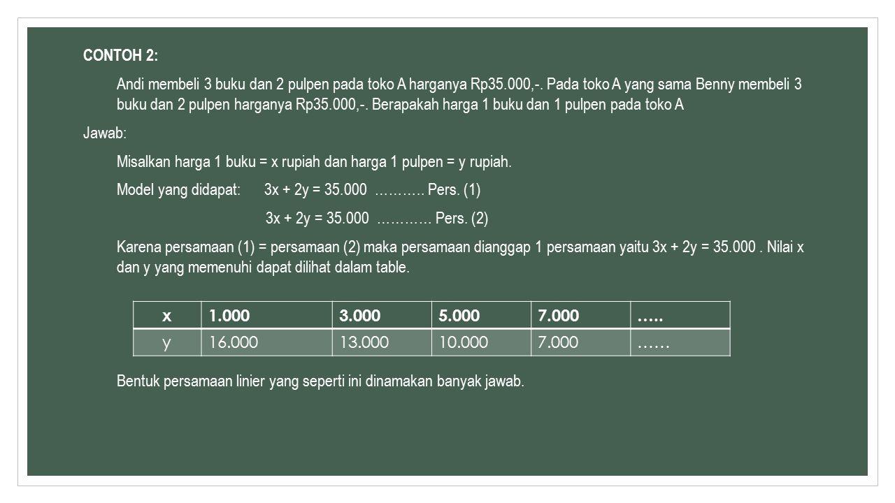 CONTOH 2: Andi membeli 3 buku dan 2 pulpen pada toko A harganya Rp35.000,-.