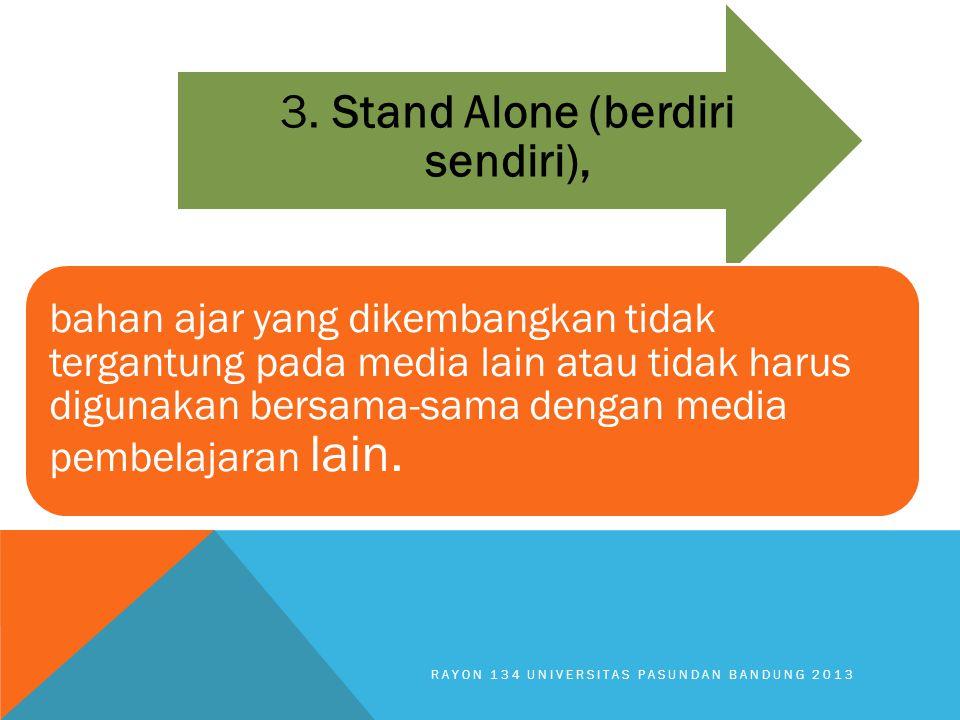 RAYON 134 UNIVERSITAS PASUNDAN BANDUNG 2013 3. Stand Alone (berdiri sendiri), bahan ajar yang dikembangkan tidak tergantung pada media lain atau tidak