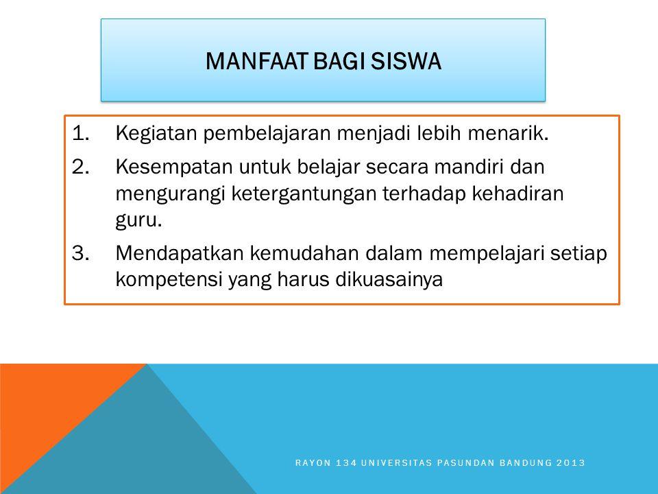 MANFAAT BAGI SISWA 1.Kegiatan pembelajaran menjadi lebih menarik. 2.Kesempatan untuk belajar secara mandiri dan mengurangi ketergantungan terhadap keh