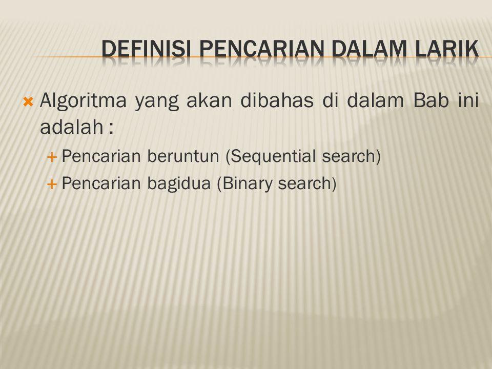  Algoritma yang akan dibahas di dalam Bab ini adalah :  Pencarian beruntun (Sequential search)  Pencarian bagidua (Binary search )