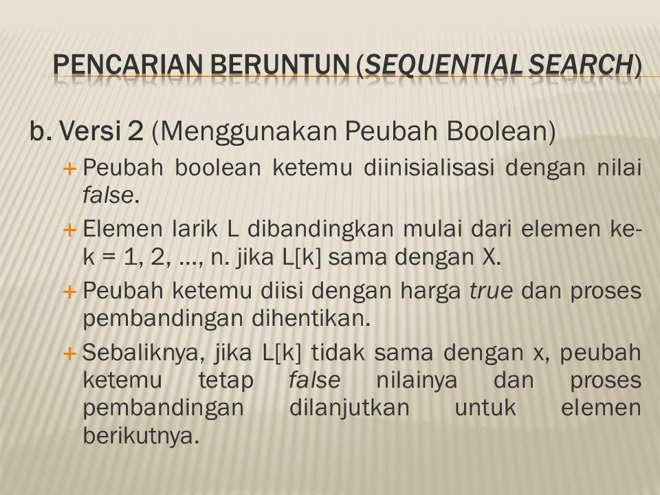 b. Versi 2 (Menggunakan Peubah Boolean)  Peubah boolean ketemu diinisialisasi dengan nilai false.  Elemen larik L dibandingkan mulai dari elemen ke-