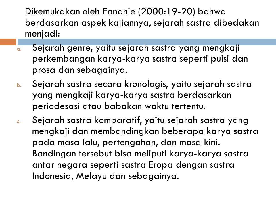 Dikemukakan oleh Fananie (2000:19-20) bahwa berdasarkan aspek kajiannya, sejarah sastra dibedakan menjadi: a.