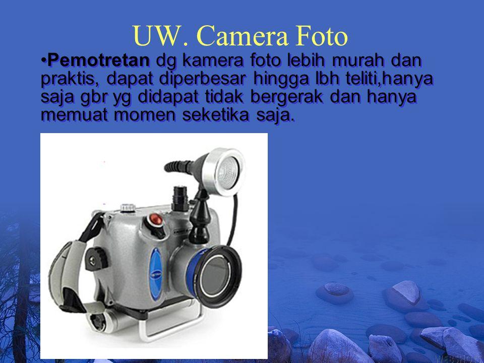 UW. Camera Foto Pemotretan dg kamera foto lebih murah dan praktis, dapat diperbesar hingga lbh teliti,hanya saja gbr yg didapat tidak bergerak dan han