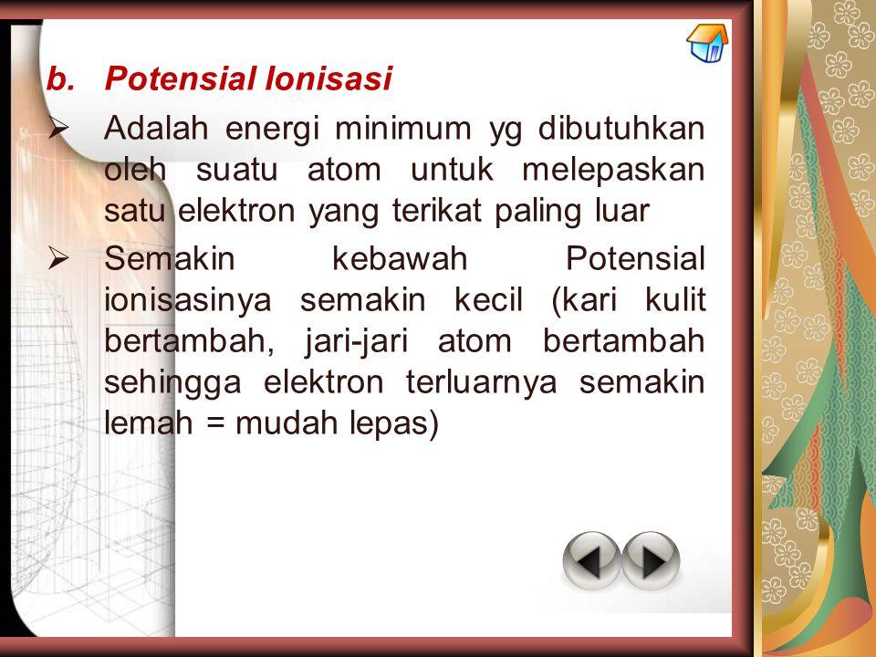 b.Potensial Ionisasi  Adalah energi minimum yg dibutuhkan oleh suatu atom untuk melepaskan satu elektron yang terikat paling luar  Semakin kebawah P