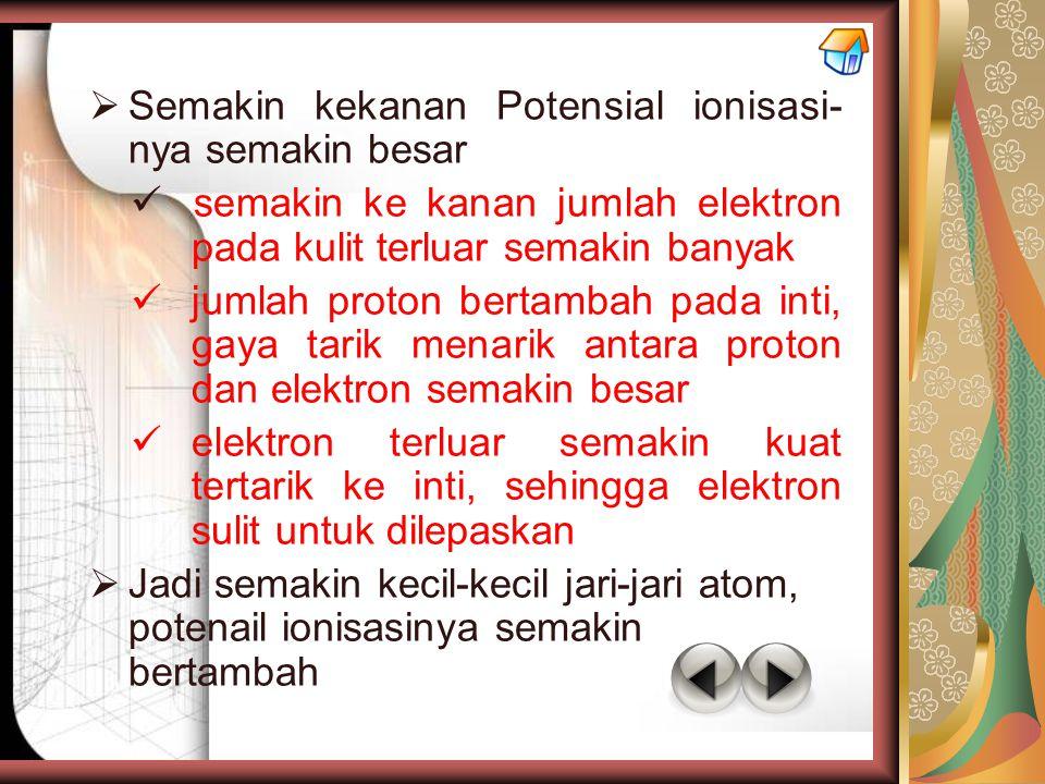  Semakin kekanan Potensial ionisasi- nya semakin besar semakin ke kanan jumlah elektron pada kulit terluar semakin banyak jumlah proton bertambah pad