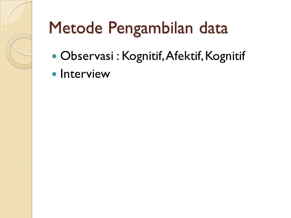Metode Pengambilan data Observasi : Kognitif, Afektif, Kognitif Interview