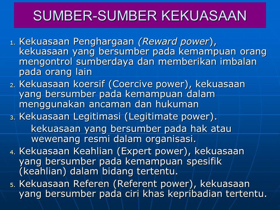 SUMBER-SUMBER KEKUASAAN 1. Kekuasaan Penghargaan (Reward power), kekuasaan yang bersumber pada kemampuan orang mengontrol sumberdaya dan memberikan im
