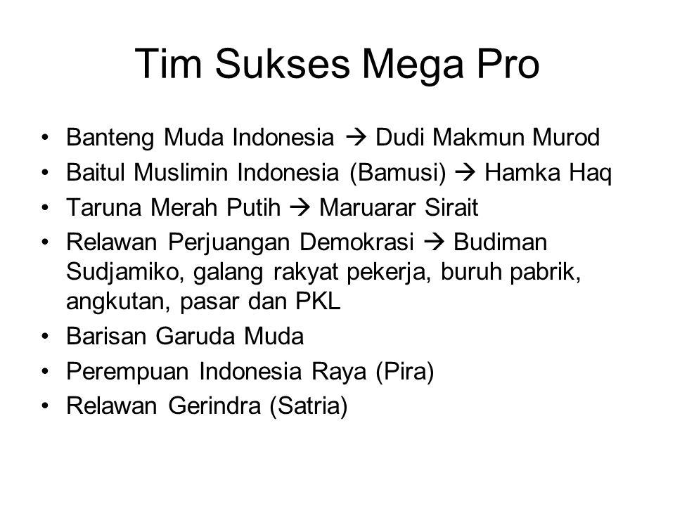 Tim Sukses Mega Pro Banteng Muda Indonesia  Dudi Makmun Murod Baitul Muslimin Indonesia (Bamusi)  Hamka Haq Taruna Merah Putih  Maruarar Sirait Rel