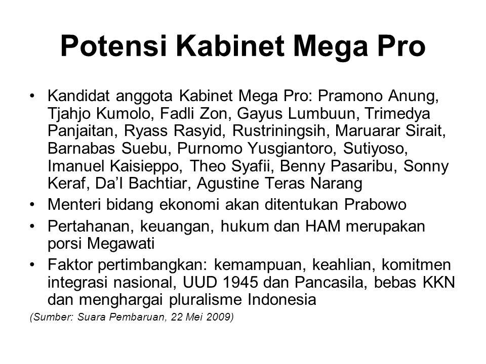 Potensi Kabinet Mega Pro Kandidat anggota Kabinet Mega Pro: Pramono Anung, Tjahjo Kumolo, Fadli Zon, Gayus Lumbuun, Trimedya Panjaitan, Ryass Rasyid,