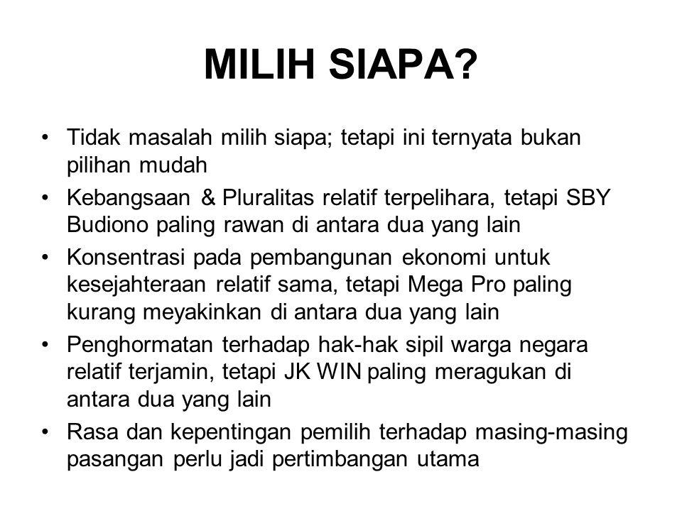 MILIH SIAPA? Tidak masalah milih siapa; tetapi ini ternyata bukan pilihan mudah Kebangsaan & Pluralitas relatif terpelihara, tetapi SBY Budiono paling