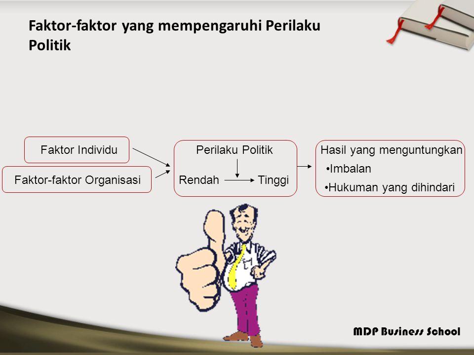 MDP Business School Faktor-faktor yang mempengaruhi Perilaku Politik Faktor Individu Faktor-faktor Organisasi Perilaku Politik RendahTinggi Hasil yang