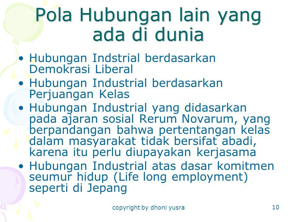 copyright by dhoni yusra 10 Pola Hubungan lain yang ada di dunia Hubungan Indstrial berdasarkan Demokrasi Liberal Hubungan Industrial berdasarkan Perj