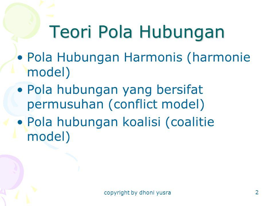 copyright by dhoni yusra 2 Teori Pola Hubungan Pola Hubungan Harmonis (harmonie model) Pola hubungan yang bersifat permusuhan (conflict model) Pola hu