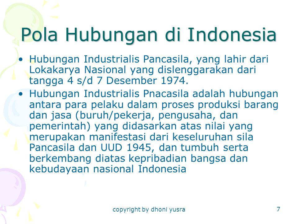 copyright by dhoni yusra 7 Pola Hubungan di Indonesia Hubungan Industrialis Pancasila, yang lahir dari Lokakarya Nasional yang dislenggarakan dari tan