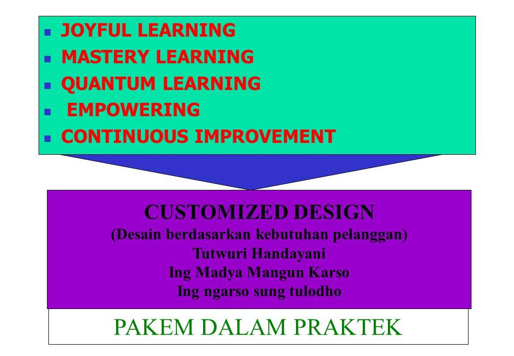 JOYFUL LEARNING MASTERY LEARNING QUANTUM LEARNING EMPOWERING CONTINUOUS IMPROVEMENT CUSTOMIZED DESIGN (Desain berdasarkan kebutuhan pelanggan) Tutwuri Handayani Ing Madya Mangun Karso Ing ngarso sung tulodho PAKEM DALAM PRAKTEK