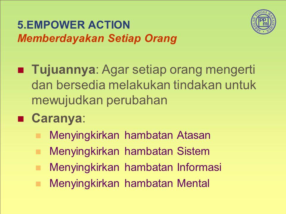 5.EMPOWER ACTION Memberdayakan Setiap Orang Tujuannya: Agar setiap orang mengerti dan bersedia melakukan tindakan untuk mewujudkan perubahan Caranya: