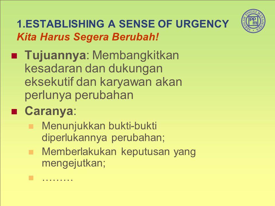 1.ESTABLISHING A SENSE OF URGENCY Kita Harus Segera Berubah! Tujuannya: Membangkitkan kesadaran dan dukungan eksekutif dan karyawan akan perlunya peru