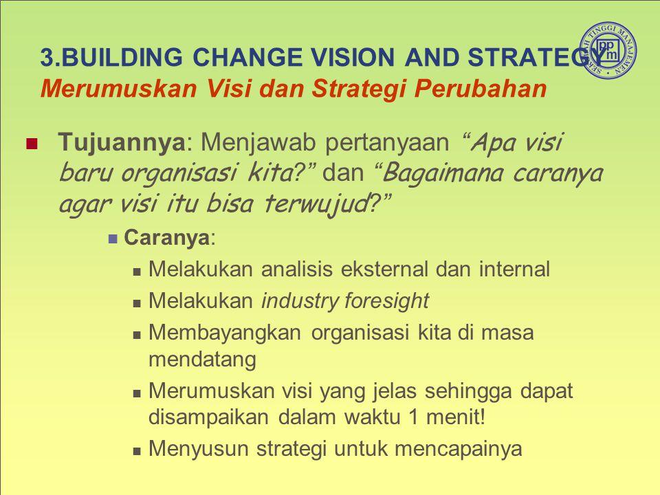 """3.BUILDING CHANGE VISION AND STRATEGY Merumuskan Visi dan Strategi Perubahan Tujuannya: Menjawab pertanyaan """" Apa visi baru organisasi kita ?"""" dan """" B"""