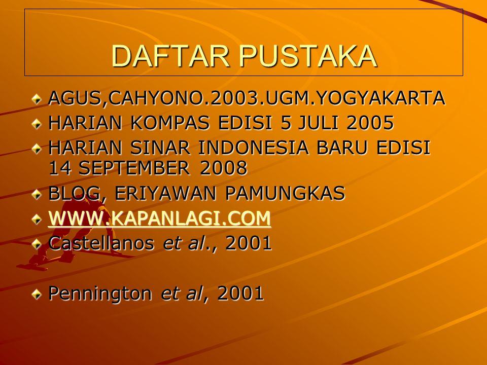 DAFTAR PUSTAKA AGUS,CAHYONO.2003.UGM.YOGYAKARTA HARIAN KOMPAS EDISI 5 JULI 2005 HARIAN SINAR INDONESIA BARU EDISI 14 SEPTEMBER 2008 BLOG, ERIYAWAN PAMUNGKAS WWW.KAPANLAGI.COM Castellanos et al., 2001 Pennington et al, 2001