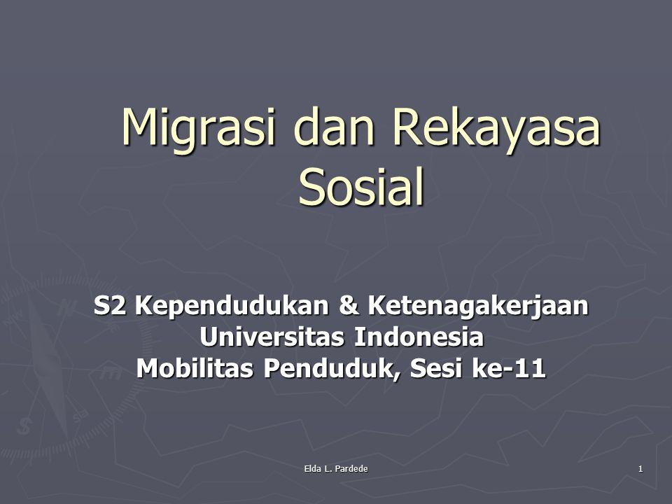 S2 Kependudukan & Ketenagakerjaan Universitas Indonesia Mobilitas Penduduk, Sesi ke-11 Migrasi dan Rekayasa Sosial 1 Elda L. Pardede