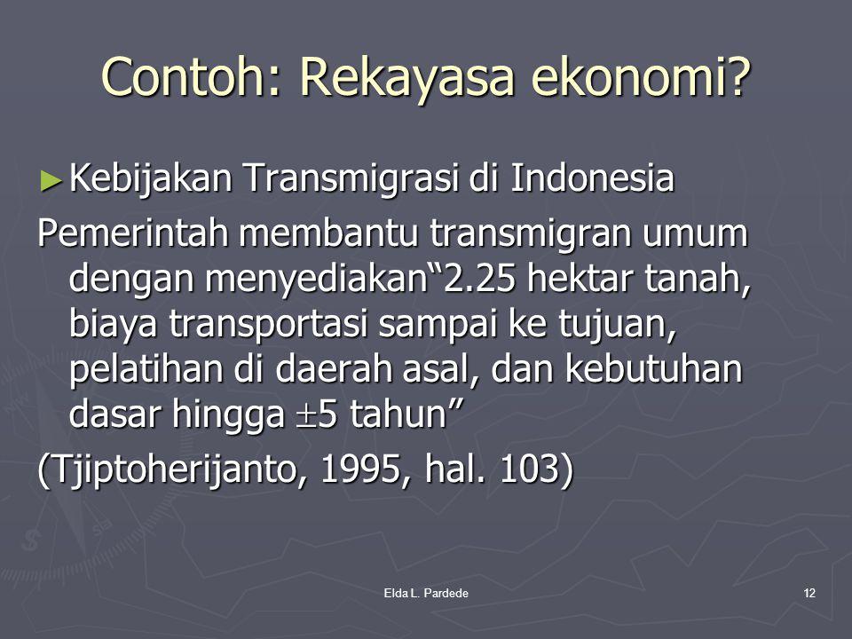 """Contoh: Rekayasa ekonomi? ► Kebijakan Transmigrasi di Indonesia Pemerintah membantu transmigran umum dengan menyediakan""""2.25 hektar tanah, biaya trans"""