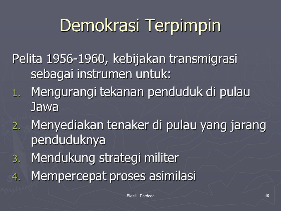 Demokrasi Terpimpin Pelita 1956-1960, kebijakan transmigrasi sebagai instrumen untuk: 1. Mengurangi tekanan penduduk di pulau Jawa 2. Menyediakan tena