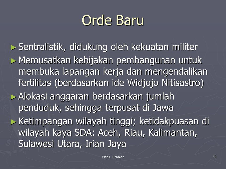 Orde Baru ► Sentralistik, didukung oleh kekuatan militer ► Memusatkan kebijakan pembangunan untuk membuka lapangan kerja dan mengendalikan fertilitas