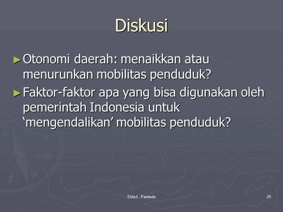 Diskusi ► Otonomi daerah: menaikkan atau menurunkan mobilitas penduduk? ► Faktor-faktor apa yang bisa digunakan oleh pemerintah Indonesia untuk 'menge