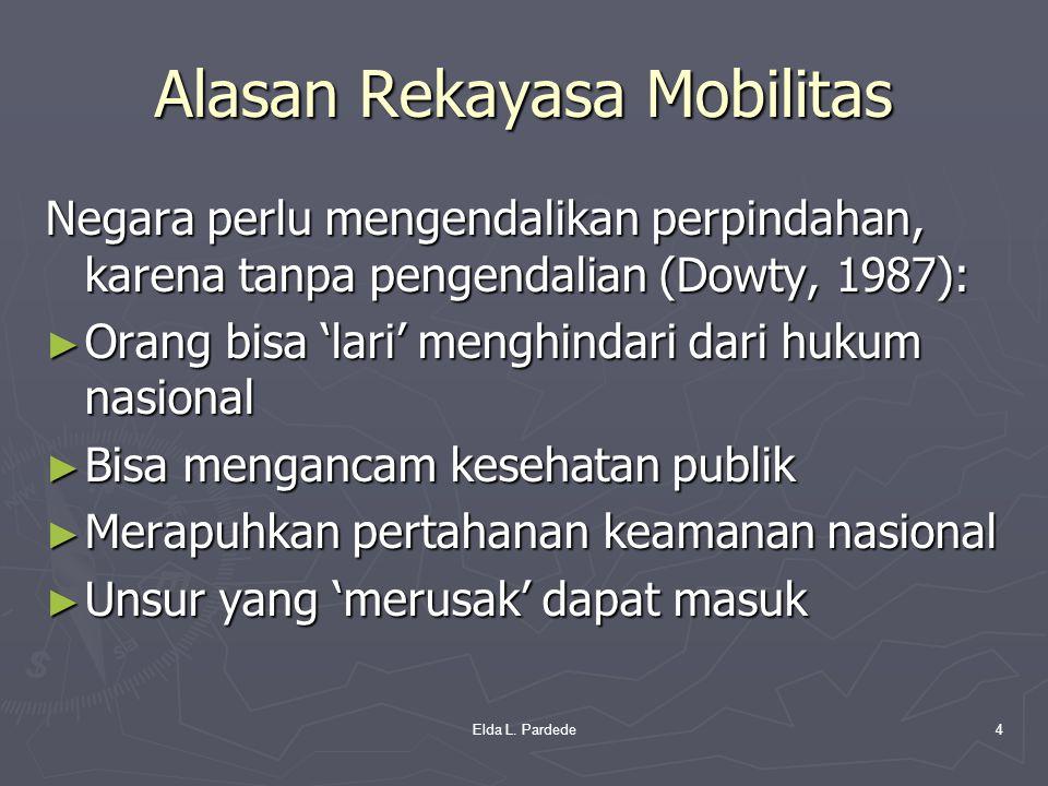 Alasan Rekayasa Mobilitas Negara perlu mengendalikan perpindahan, karena tanpa pengendalian (Dowty, 1987): ► Orang bisa 'lari' menghindari dari hukum