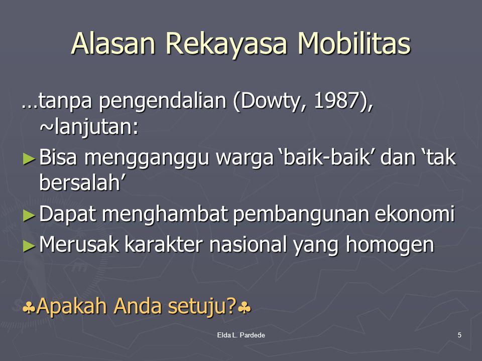 Alasan Rekayasa Mobilitas …tanpa pengendalian (Dowty, 1987), ~lanjutan: ► Bisa mengganggu warga 'baik-baik' dan 'tak bersalah' ► Dapat menghambat pemb