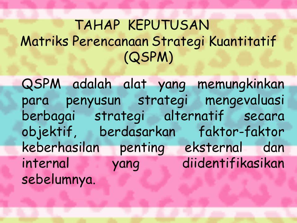 TAHAP KEPUTUSAN Matriks Perencanaan Strategi Kuantitatif (QSPM) QSPM adalah alat yang memungkinkan para penyusun strategi mengevaluasi berbagai strategi alternatif secara objektif, berdasarkan faktor-faktor keberhasilan penting eksternal dan internal yang diidentifikasikan sebelumnya.