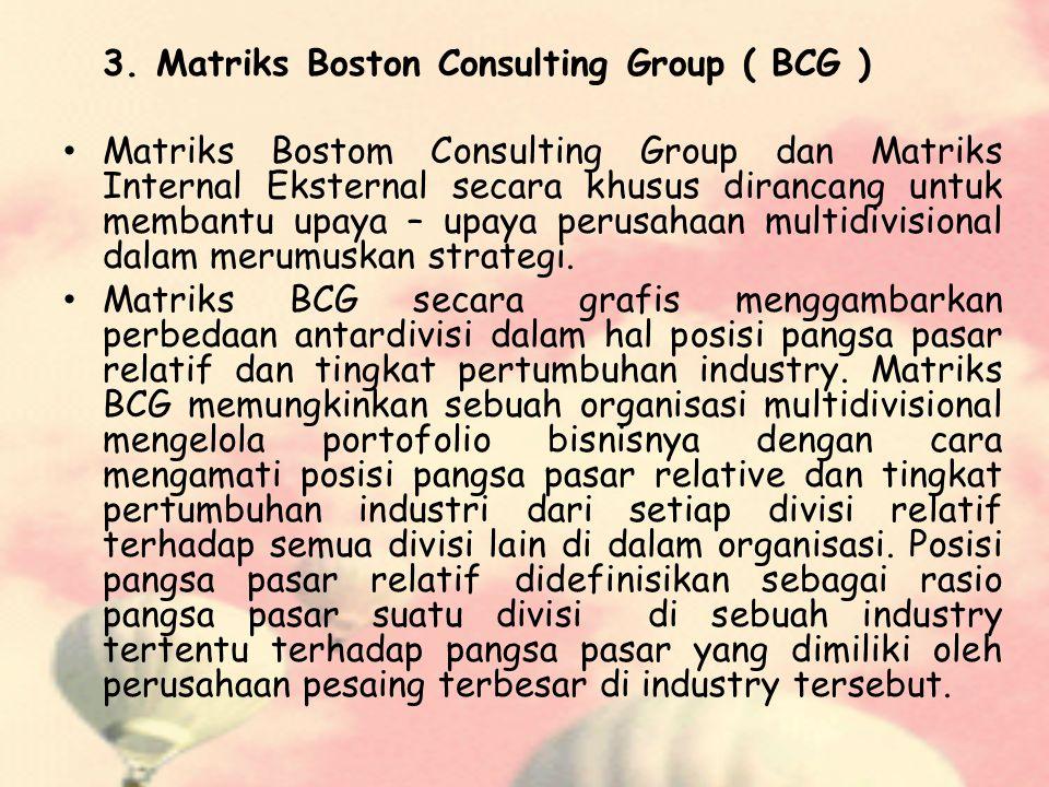 3. Matriks Boston Consulting Group ( BCG ) Matriks Bostom Consulting Group dan Matriks Internal Eksternal secara khusus dirancang untuk membantu upaya