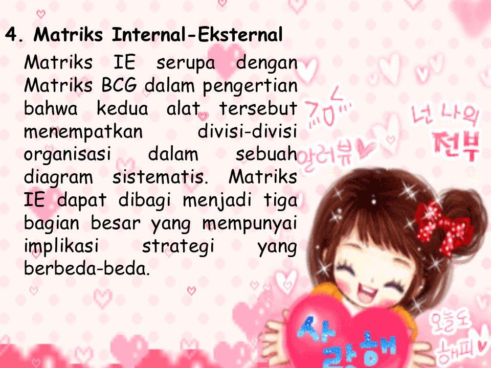 4. Matriks Internal-Eksternal Matriks IE serupa dengan Matriks BCG dalam pengertian bahwa kedua alat tersebut menempatkan divisi-divisi organisasi dal