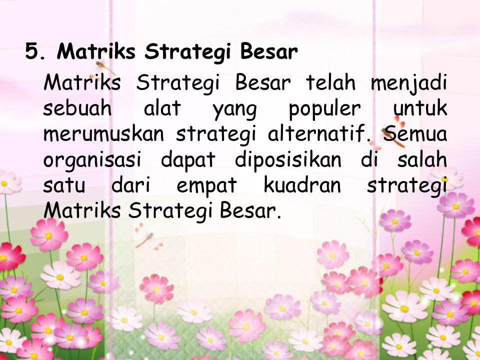5. Matriks Strategi Besar Matriks Strategi Besar telah menjadi sebuah alat yang populer untuk merumuskan strategi alternatif. Semua organisasi dapat d