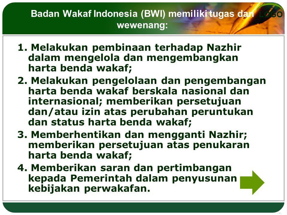LOGO Badan Wakaf Indonesia (BWI) memiliki tugas dan wewenang: 1. Melakukan pembinaan terhadap Nazhir dalam mengelola dan mengembangkan harta benda wak