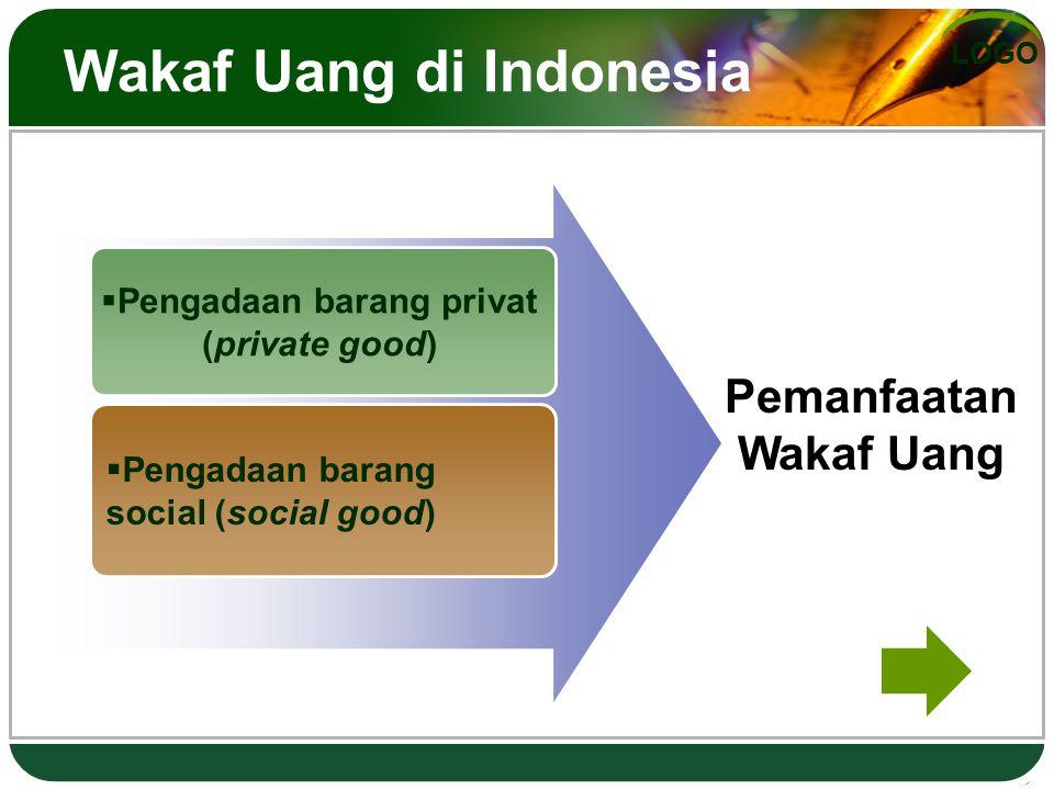 LOGO Wakaf Uang di Indonesia  Pengadaan barang privat (private good)  Pengadaan barang social (social good) Pemanfaatan Wakaf Uang
