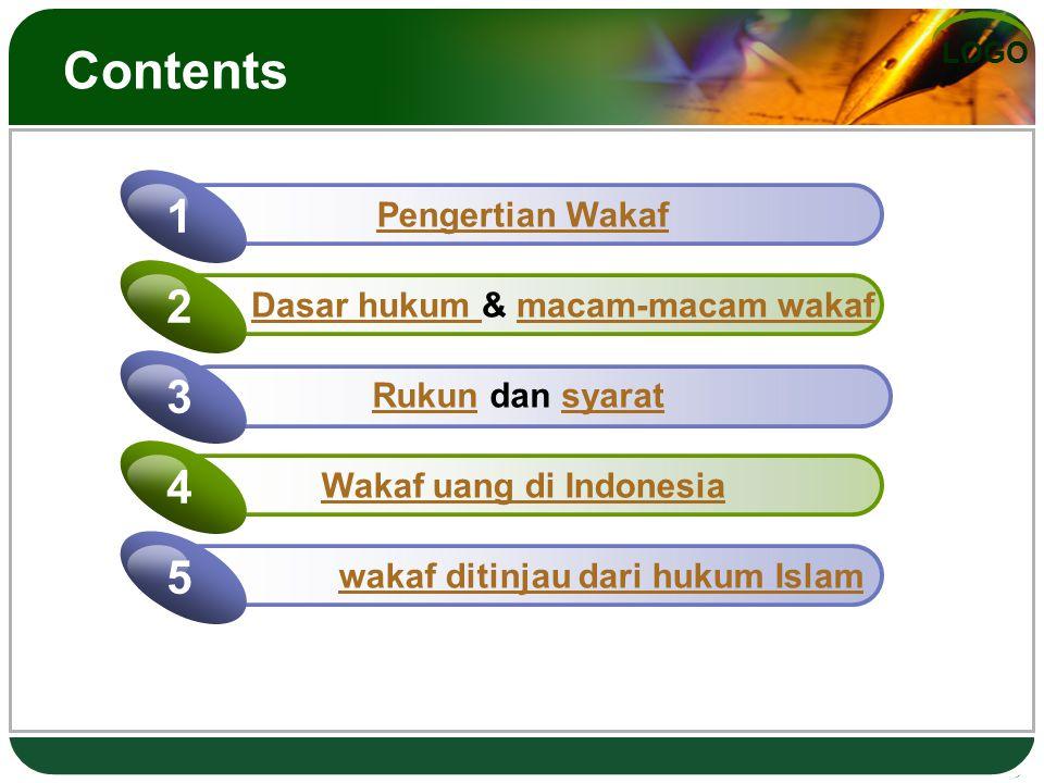 LOGO Contents Pengertian Wakaf 1 Dasar hukum Dasar hukum & macam-macam wakafmacam-macam wakaf 2 Rukun dan syaratRukunsyarat 3 Wakaf uang di Indonesia