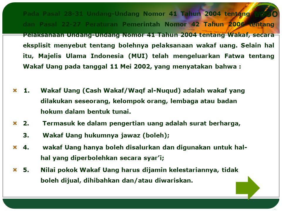 LOGO Pada Pasal 28-31 Undang-Undang Nomor 41 Tahun 2004 tentang Wakaf dan Pasal 22-27 Peraturan Pemerintah Nomor 42 Tahun 2006 tentang Pelaksanaan Und