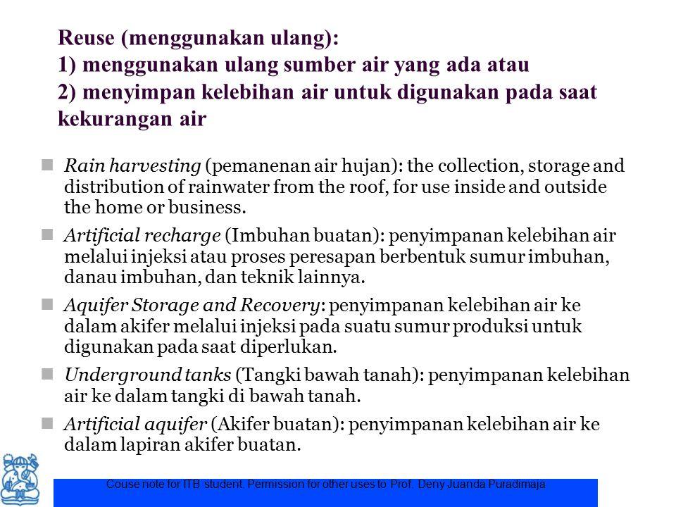 Couse note for ITB student. Permission for other uses to Prof. Deny Juanda Puradimaja Reuse (menggunakan ulang): 1) menggunakan ulang sumber air yang