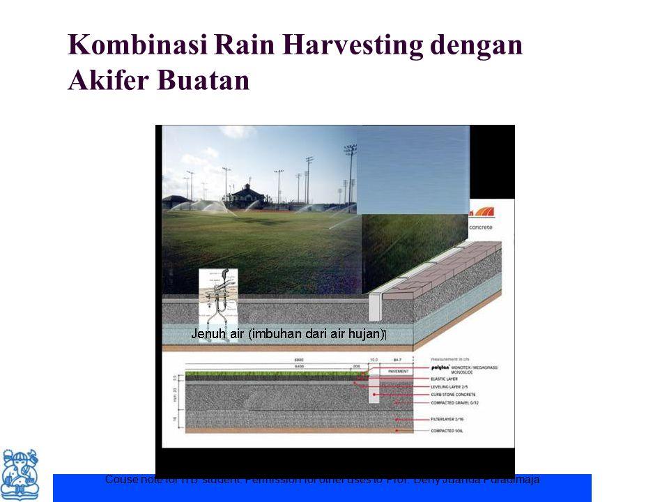 Couse note for ITB student. Permission for other uses to Prof. Deny Juanda Puradimaja Kombinasi Rain Harvesting dengan Akifer Buatan
