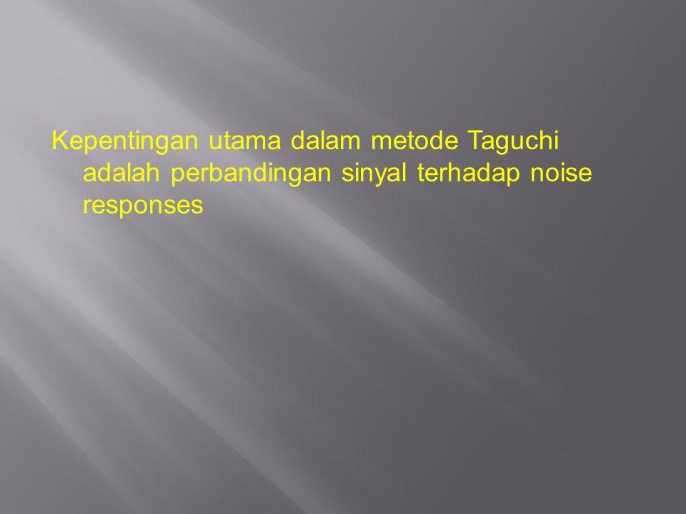 Kepentingan utama dalam metode Taguchi adalah perbandingan sinyal terhadap noise responses