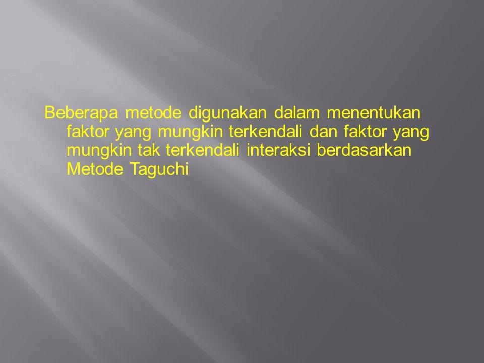 Beberapa metode digunakan dalam menentukan faktor yang mungkin terkendali dan faktor yang mungkin tak terkendali interaksi berdasarkan Metode Taguchi