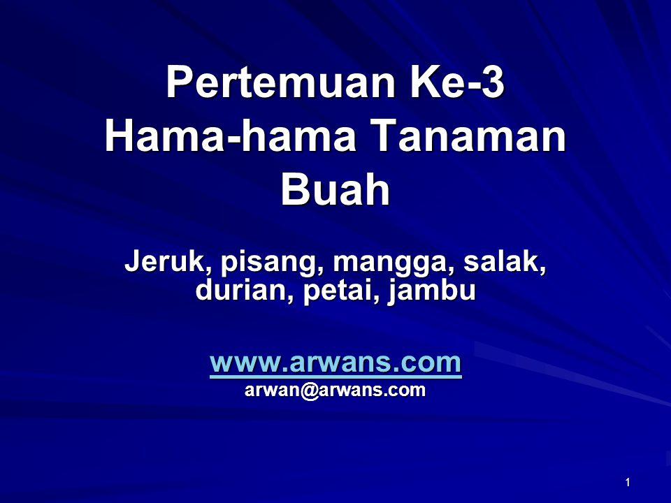1 Pertemuan Ke-3 Hama-hama Tanaman Buah Jeruk, pisang, mangga, salak, durian, petai, jambu www.arwans.com arwan@arwans.com