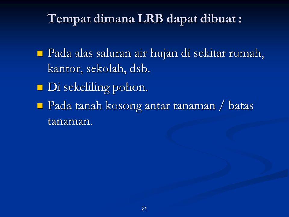 Tempat dimana LRB dapat dibuat : Pada alas saluran air hujan di sekitar rumah, kantor, sekolah, dsb. Pada alas saluran air hujan di sekitar rumah, kan